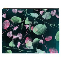 Modern Green And Pink Leaves Cosmetic Bag (xxxl)  by DanaeStudio