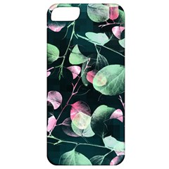 Modern Green And Pink Leaves Apple Iphone 5 Classic Hardshell Case by DanaeStudio