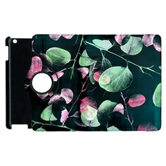 Modern Green And Pink Leaves Apple Ipad 3/4 Flip 360 Case by DanaeStudio