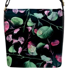 Modern Green And Pink Leaves Flap Messenger Bag (s) by DanaeStudio