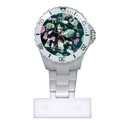 Modern Green And Pink Leaves Plastic Nurses Watch