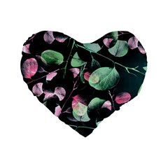 Modern Green And Pink Leaves Standard 16  Premium Flano Heart Shape Cushions by DanaeStudio