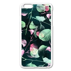 Modern Green And Pink Leaves Apple Iphone 6 Plus/6s Plus Enamel White Case by DanaeStudio