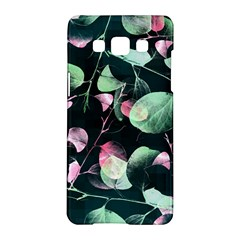 Modern Green And Pink Leaves Samsung Galaxy A5 Hardshell Case  by DanaeStudio