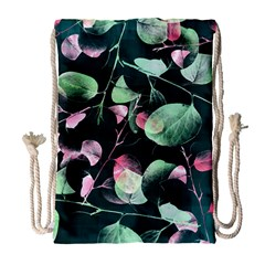 Modern Green And Pink Leaves Drawstring Bag (large) by DanaeStudio