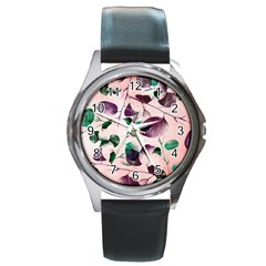 Spiral Eucalyptus Leaves Round Metal Watch by DanaeStudio