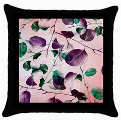 Spiral Eucalyptus Leaves Throw Pillow Case (black) by DanaeStudio