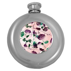Spiral Eucalyptus Leaves Round Hip Flask (5 Oz) by DanaeStudio