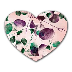 Spiral Eucalyptus Leaves Heart Mousepads by DanaeStudio
