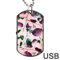 Spiral Eucalyptus Leaves Dog Tag Usb Flash (one Side) by DanaeStudio