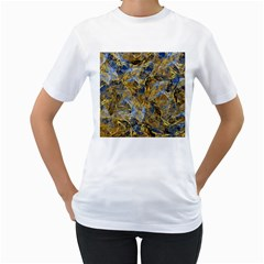 Antique Anciently Gold Blue Vintage Design Women s T Shirt (white) (two Sided) by designworld65
