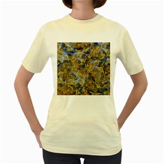 Antique Anciently Gold Blue Vintage Design Women s Yellow T Shirt by designworld65