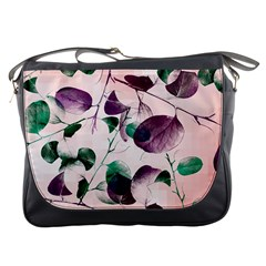 Spiral Eucalyptus Leaves Messenger Bags by DanaeStudio