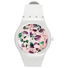Spiral Eucalyptus Leaves Round Plastic Sport Watch (m) by DanaeStudio