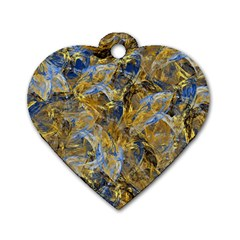 Antique Anciently Gold Blue Vintage Design Dog Tag Heart (one Side) by designworld65