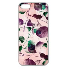 Spiral Eucalyptus Leaves Apple Seamless Iphone 5 Case (clear) by DanaeStudio