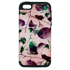 Spiral Eucalyptus Leaves Apple Iphone 5 Hardshell Case (pc+silicone) by DanaeStudio
