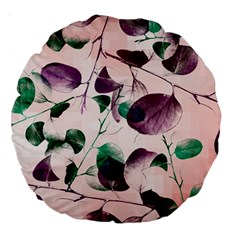 Spiral Eucalyptus Leaves Large 18  Premium Round Cushions by DanaeStudio