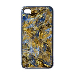 Antique Anciently Gold Blue Vintage Design Apple Iphone 4 Case (black) by designworld65