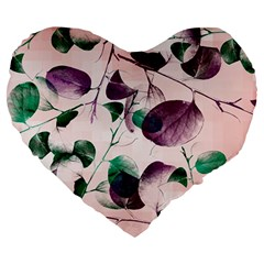 Spiral Eucalyptus Leaves Large 19  Premium Heart Shape Cushions by DanaeStudio