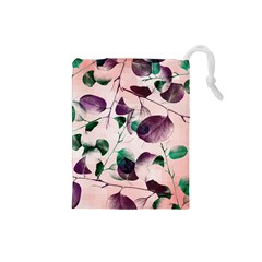 Spiral Eucalyptus Leaves Drawstring Pouches (small)  by DanaeStudio