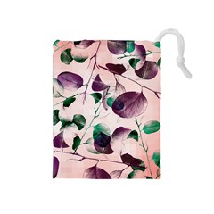 Spiral Eucalyptus Leaves Drawstring Pouches (medium)  by DanaeStudio