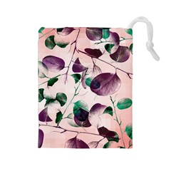 Spiral Eucalyptus Leaves Drawstring Pouches (large)  by DanaeStudio