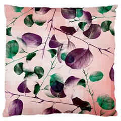 Spiral Eucalyptus Leaves Large Flano Cushion Case (two Sides) by DanaeStudio