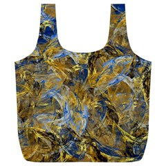 Antique Anciently Gold Blue Vintage Design Full Print Recycle Bags (l)  by designworld65