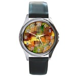 Indian Summer Funny Check Round Metal Watch Front