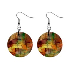Indian Summer Funny Check Mini Button Earrings by designworld65