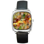 Indian Summer Funny Check Square Metal Watch Front