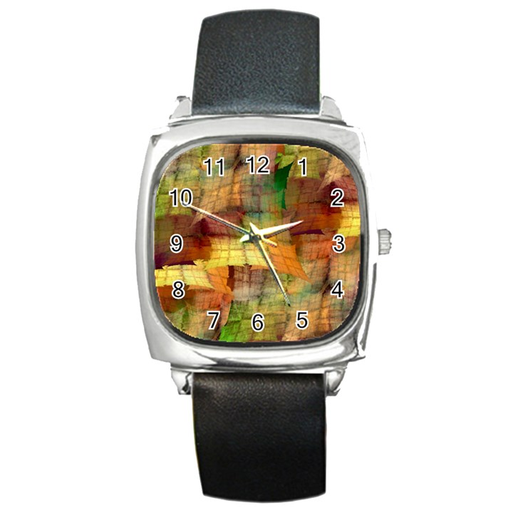 Indian Summer Funny Check Square Metal Watch