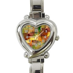 Indian Summer Funny Check Heart Italian Charm Watch by designworld65
