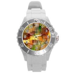 Indian Summer Funny Check Round Plastic Sport Watch (l) by designworld65