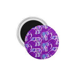 Cute Violet Elephants Pattern 1.75  Magnets