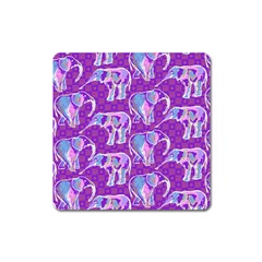Cute Violet Elephants Pattern Square Magnet by DanaeStudio