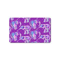 Cute Violet Elephants Pattern Magnet (name Card) by DanaeStudio