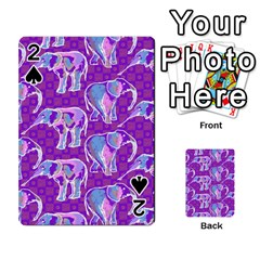 Cute Violet Elephants Pattern Playing Cards 54 Designs