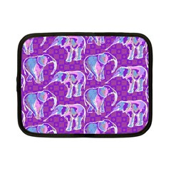 Cute Violet Elephants Pattern Netbook Case (Small)