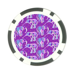 Cute Violet Elephants Pattern Poker Chip Card Guards (10 pack)