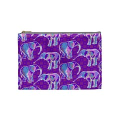 Cute Violet Elephants Pattern Cosmetic Bag (medium)  by DanaeStudio
