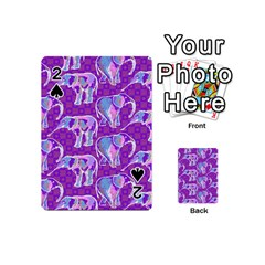 Cute Violet Elephants Pattern Playing Cards 54 (Mini)