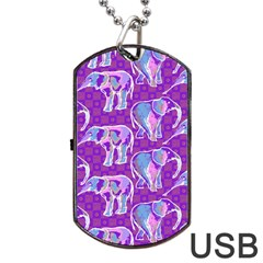 Cute Violet Elephants Pattern Dog Tag Usb Flash (one Side) by DanaeStudio