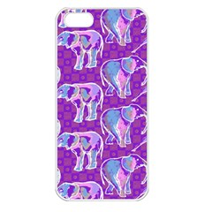Cute Violet Elephants Pattern Apple Iphone 5 Seamless Case (white) by DanaeStudio