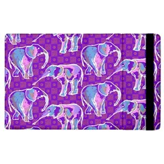 Cute Violet Elephants Pattern Apple Ipad 2 Flip Case by DanaeStudio