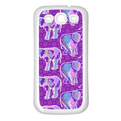 Cute Violet Elephants Pattern Samsung Galaxy S3 Back Case (White)