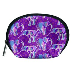 Cute Violet Elephants Pattern Accessory Pouches (medium)  by DanaeStudio