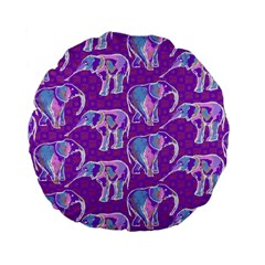 Cute Violet Elephants Pattern Standard 15  Premium Flano Round Cushions
