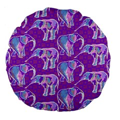 Cute Violet Elephants Pattern Large 18  Premium Flano Round Cushions